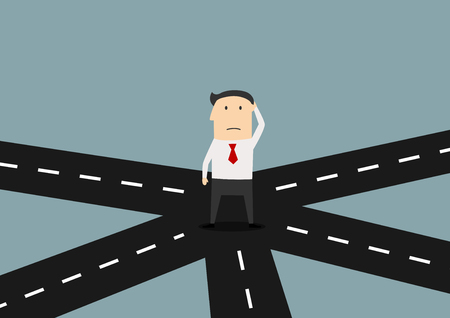 Illustration pour Cartoon confused businessman on crossroad choosing future direction to success or business strategy, for alternative choice concept design - image libre de droit