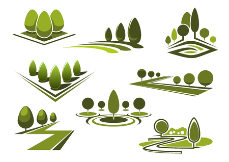 Illustration pour Green parks and gardens landscape icons with grass lawns, walking alleys and trimmed trees and bushes. Isolated on white - image libre de droit