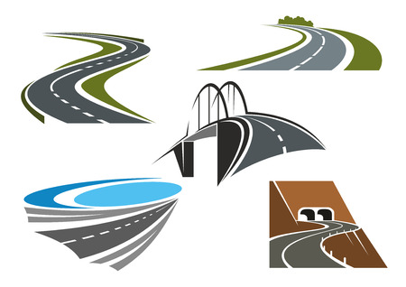 Foto de Road bridge, winding highways with green roadsides and mountain road tunnels icons set, for transportation theme design - Imagen libre de derechos