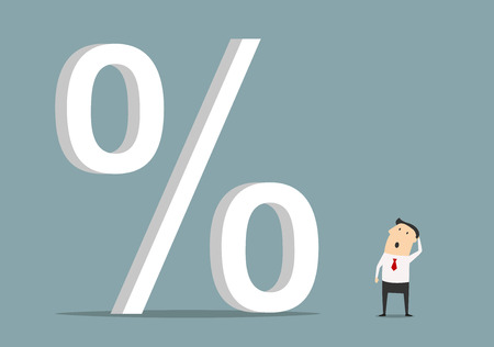 Ilustración de Bemused businessman looking up at big percent symbol, for high cost credit or rising interest rate - Imagen libre de derechos