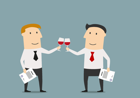 Illustration pour Cheerful smiling cartoon businessmen celebrating the signing of successful contract. With red wine in hands, for business or celebration theme concept design - image libre de droit