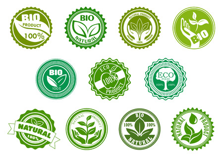 Ilustración de Bio, eco, organic and natural products green labels with tree, leaves, pant, apple, hands and water drop, framed by round frames. For healthy food and drink theme design - Imagen libre de derechos