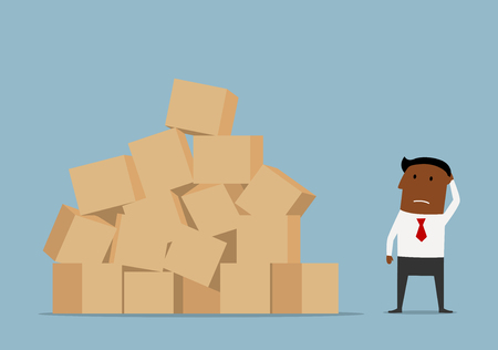 Illustration pour Confused cartoon african american businessman looking at large pile of cardboard boxes and worrying about problems of delivery - image libre de droit
