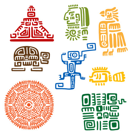 Illustration pour Ancient mayan and aztec totems or religious signs with colorful symbols of sun, bird, snake, turtle, fish, lizard, pyramid and warrior. For tattoo or t-shirt design - image libre de droit