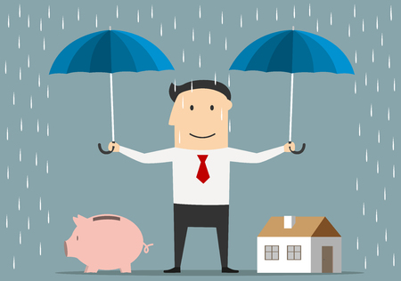 Ilustración de Cartoon happy businessman holds umbrellas over house and piggy bank. Saving money and investment concept - Imagen libre de derechos