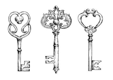 Illustration pour Vintage ornate filigree keys or skeletons, decorated by metal scroll-work and swirls. Sketch illustrations - image libre de droit
