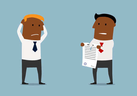 Illustration pour Cartoon angry black businessman tearing apart a contract in front of his business partner, for contract or agreement determination concept design - image libre de droit