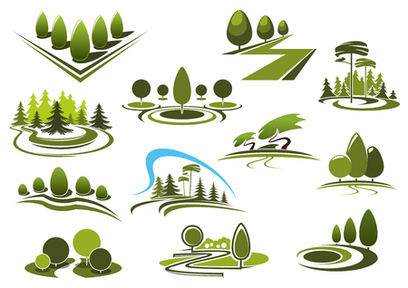 Illustration pour Green summer park, forest and garden landscape icons. With decorative trees and bushes, walking alleys and footpaths, peaceful grassy meadows and figured lawns - image libre de droit