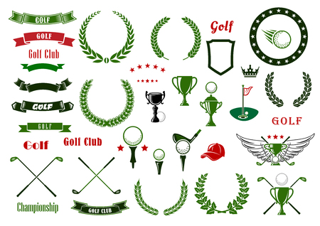 Illustration for Golf and golfing sport design elements with balls and crossed clubs, green area with hole and flag, trophy cup, laurel wreaths and star frame, heraldic shield and ribbon banners, crown and wings - Royalty Free Image