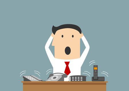 Illustration pour Cartoon businessman clutching a head in panic on workplace. - image libre de droit
