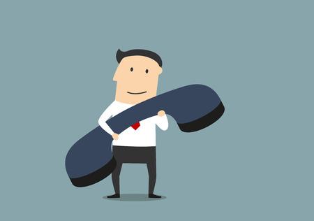 Illustration pour Friendly smiling cartoon businessman with large old blue handset. - image libre de droit