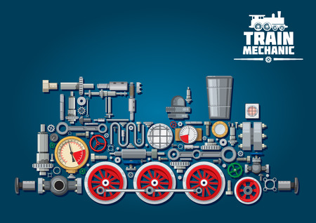 Illustration pour Steam locomotive train made up of mechanical parts as steam engine, power transmission system, gearbox, cogwheels, colorful pressure gauges, valves, running gears with red wheels, cylinders, pipe, headlights. - image libre de droit