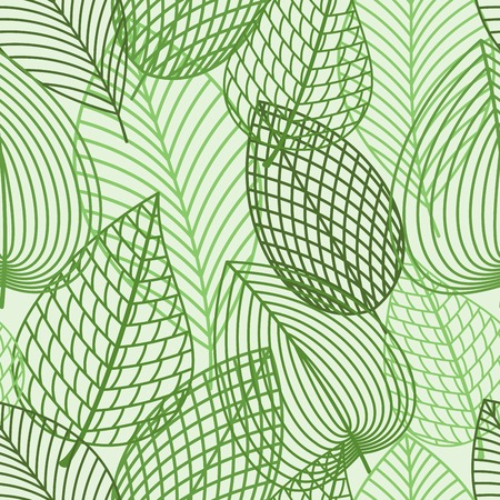 Illustration for Seamless pattern of outline spring foliage with green leaves of birch. Interior wallpaper, background, accessories and fabric or textile design usage - Royalty Free Image