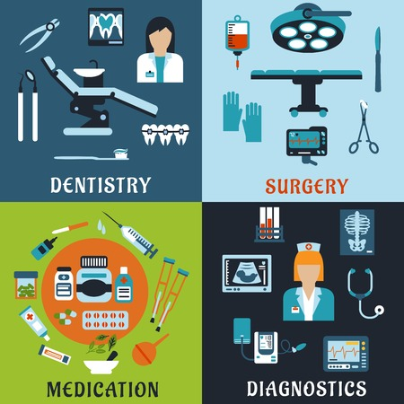 Illustration pour Dentistry, surgery, diagnostic medicine and pharmacology flat icons. Dentist and therapist, doctor, medical equipment, diagnostic elements, drugs and pills, tools, medicine bottles and medication items - image libre de droit