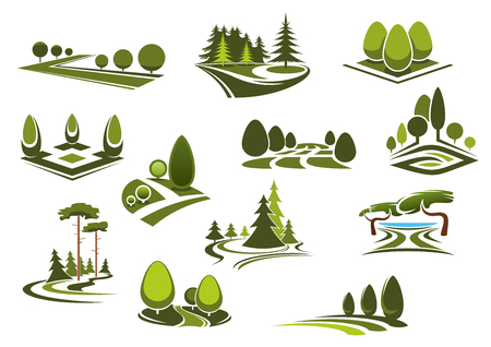 Illustration pour Peaceful nature landscapes icons with green walking alleys, decorative trees and bushes, beautiful lake and grass lawns of city public parks, gardens or forests - image libre de droit