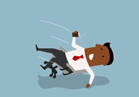 Ilustración de Distracted cartoon african american businessman fall backwards in an office chair, spilling water from paper cup. Distraction and accident at workplace concept - Imagen libre de derechos