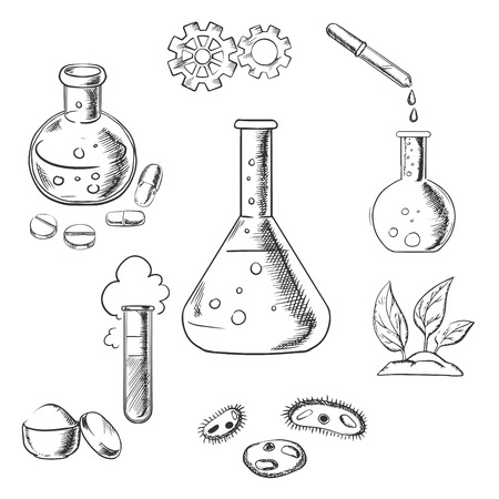 Illustration pour Experiment and scientific design with a cloud of vapor with gear wheels above a conical flask with additional glassware for pharmaceutical, chemical, botanical and medical research. Sketch style vector - image libre de droit