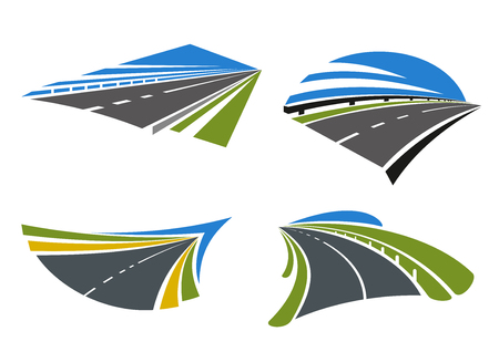 Ilustración de Highways and roads icons with landscape. Isolated on white vector icons. For travel, transportation and journey themes design - Imagen libre de derechos