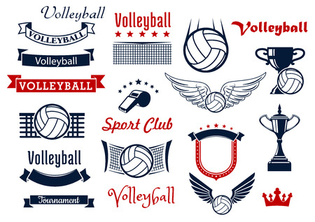 Illustration pour Volleyball sports game design elements with winged balls, volleyball net, referee whistle and trophies, retro ribbon banners, stars, medieval shield and crown. For sport symbols or icons design - image libre de droit