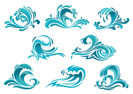 Illustration pour Decorative blue sea waves and surf icons with curls of powerful water stream, splashes and white foam caps. May be used in nature, marine journey or travel theme - image libre de droit