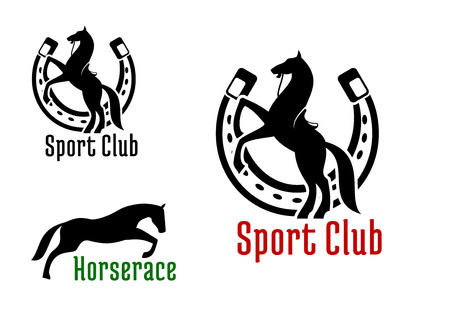 Ilustración de Graceful jumping and rearing horses black silhouettes with horseshoe on the background. For equestrian club or horse race sport design - Imagen libre de derechos