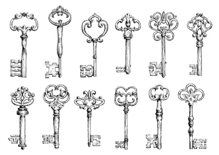 Ilustración de Ornamental medieval vintage keys with intricate forging, composed of fleur-de-lis elements, victorian leaf scrolls and heart shaped swirls. Old embellishment, interior accessories, tattoo or t-shirt print design usage. Vector sketch - Imagen libre de derechos