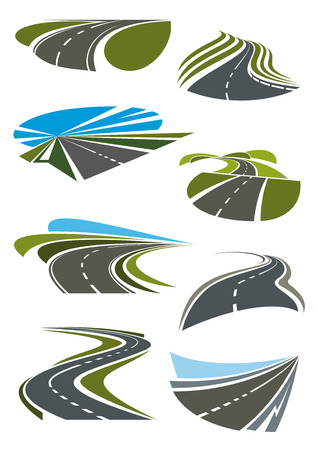 Illustration pour Roads and highway icons set. Gray asphalt roads, green fields and blue sky on the horizon. Vector icons and symbols - image libre de droit