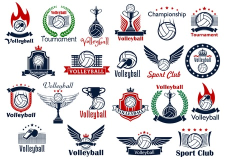 Ilustración de Volleyball sport game icons and symbols. Including many decorative elements as ball, net and whistle, laurel wreath and wings, fire and shield, trophy cup, crown and fire flame - Imagen libre de derechos