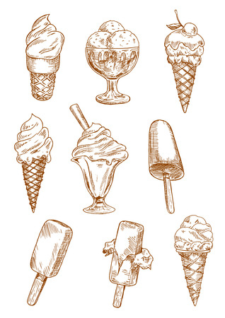 Illustration pour Ice cream sketches with ice cream cones, chocolate ice cream on sticks and sundae desserts in bowls, decorated by cherry fruit, nuts and wafer tube. Retro design for dessert menu, recipe book, sweet food - image libre de droit