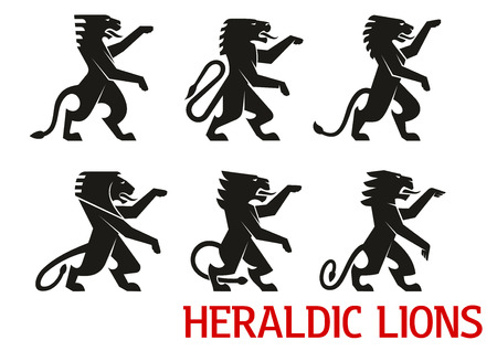 Illustration for Medieval heraldic lion symbols with black silhouettes of standing lions with raised forepaws. Heraldry theme, coat of arms or vintage embellishment design - Royalty Free Image