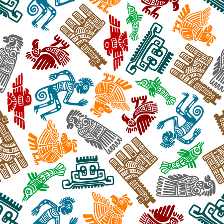 Illustration pour Seamless mayan and aztec totems pattern with colorful symbols of birds, idols, fish, shamans and lamas in tribal style over white background. Use as ethnic textile print or ancient culture and religion theme design - image libre de droit