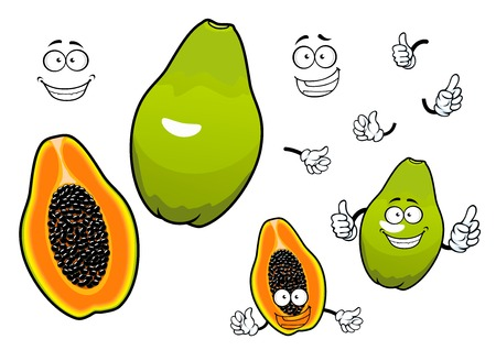 Ilustración de Whole and halved mexican tropical papaya fruit cartoon characters with joyful smiling faces. Great for recipe book, vegetarian menu, kitchen interior accessories design - Imagen libre de derechos