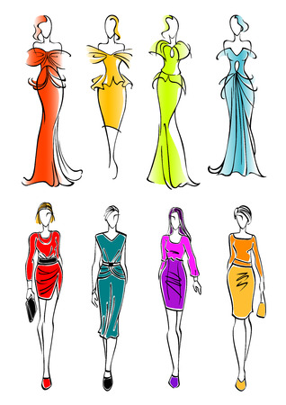 Ilustración de Pretty young female fashion models colorful sketch silhouettes presenting business casual attires and gorgeous evening and cocktail dresses with accessories. Great for fashion and shopping design usage - Imagen libre de derechos