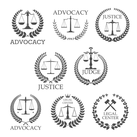 Illustration pour Legal protection and lawyer services design templates with crossed judge gavels and scales of justice, framed by laurel wreaths and text Advocacy, Justice, Judge, Legal Center - image libre de droit