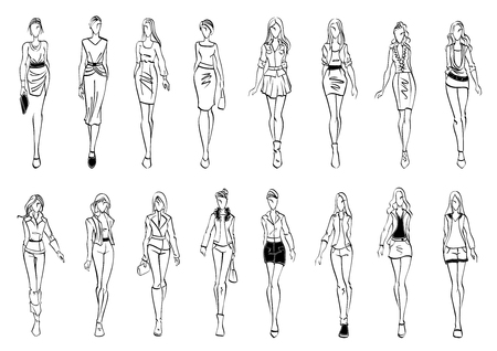 Illustration for Black and white fashion models sketch icons with silhouettes of young women presenting stylish everyday clothes for office and leisure activity. Use as fashion show theme or shopping design - Royalty Free Image