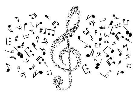 Ilustración de Flowing musical notes arranged into treble clef symbol for music and art concept design with black silhouettes of notes and rests, bass clefs and chords - Imagen libre de derechos