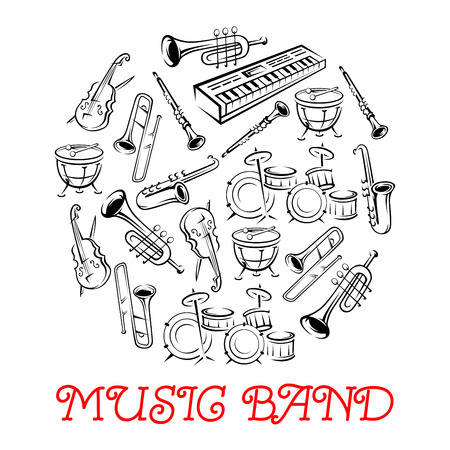 Illustration pour Sketched sound instruments or equipment for musical band. Synthesizer and violin with bow or fiddlestick, trap set or drum kit, saxophone and trumpet.  Woodwind, string, brass, percussion used in jazz, rock, pop, disco. - image libre de droit