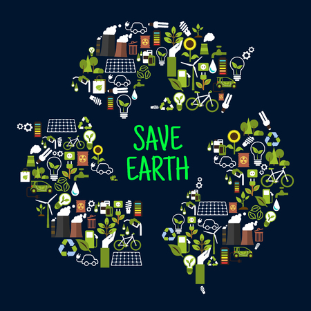 Illustration pour Save earth or ecology icons in shape of recycle international sign as chasing arrows. Renewable waste or garbage, ecological forest and sunflower, light bulb and solar energy, eco beg and toxic can, charged battery and electromobile - image libre de droit