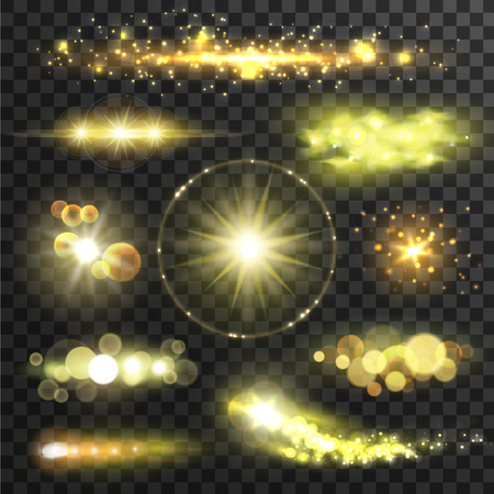 Ilustración de Golden glittering stars. Sparkling sun light flashes with lens flare effect on transparent background. Vector shining gold bokeh elements - Imagen libre de derechos