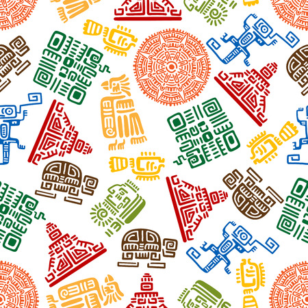 Illustration for Seamless background with mayan and aztec ornaments for ethnic decoration design with colorful pattern of eagles, snakes and suns, warriors and pyramids, turtles, lizards and fishes - Royalty Free Image