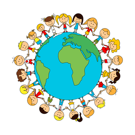 Illustration pour Children world friendship cartoon poster. Happy smiling kids around globe. Child unity and care concept vector symbol. Kindergarten boys and girls - image libre de droit