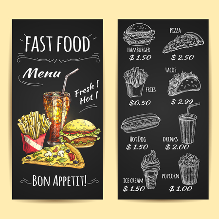 Ilustración de Fast food menu poster. Chalk sketch icons on blackboard. Snacks and drinks description and price label. Vector elements of fries, hamburger, drinks, pizza, hot dog, popcorn, ice cream, tacos - Imagen libre de derechos