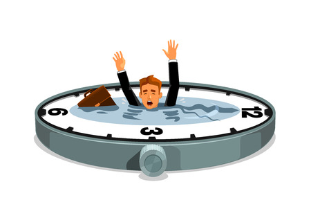 Illustrazione per Businessman sinking in time. Business and work overtime excess. Free time lack. Vector clock element with water lake, desperate businessman with bag drowning in time ocean - Immagini Royalty Free