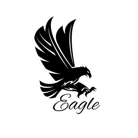 Illustration pour Eagle bird black icon.  heraldic emblem of powerful wild falcon with stretching clutches. Symbol of eagle hawk predator for sport team mascot shield, company badge, guard service, hunting club label - image libre de droit