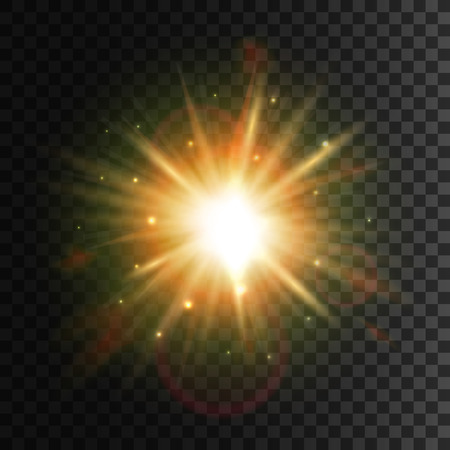 Illustration pour Star light with lens flare effect. Shining sun glow. Sparkling light particles and sun rays on transparent background with halo effect - image libre de droit