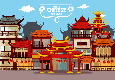 Ilustración de Happy Chinese New Year greeting card with festive town. Traditional chinese townscape of street with pagoda and gate, decorated by red paper lanterns. Asian Spring Festival holidays poster design - Imagen libre de derechos