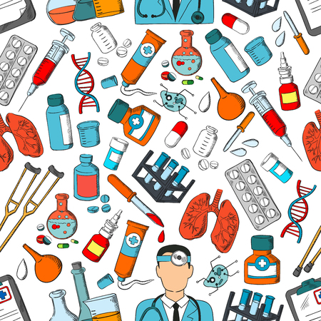 Illustration pour Medicine seamless pattern. Vector pattern of medical tools and treatment doctor, lungs and syringe, pills and dropper, ointment, dna and medications, equipment, bacteria, stethoscope, crutch, vial - image libre de droit