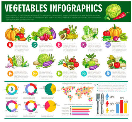 Photo for Vegetables infographics. Vector graph charts or diagrams of consumption, vitamines or veggies nutrition facts. Vegetarian healthy food statistics of squash, avocado and cabbage, beet, cucumber and tomato, pumpkin, potato and pepper, carrot and corn - Royalty Free Image