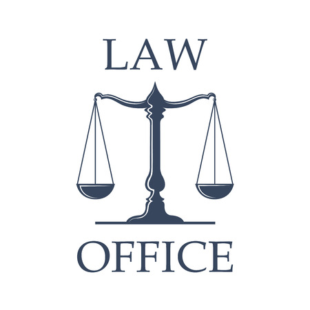 Illustration pour Law or advocate office emblem. Vector icon with Scales of Justice symbol for juridical emblem of advocacy or notary company, law attorney and legal advocate, judge court or lawyer badge - image libre de droit