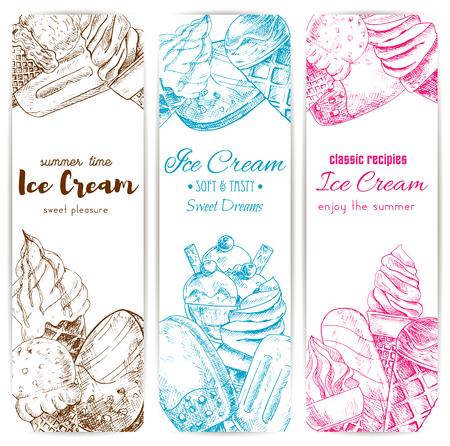 Illustration for Ice cream sketch banner set. Soft serve ice cream cone, chocolate covered ice cream on stick, sundae dessert and fruit ice pops. Cafe dessert menu, food packaging label design - Royalty Free Image
